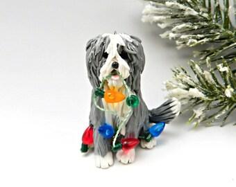 Bearded Collie Beardie Christmas Ornament Figurine Lights Porcelain