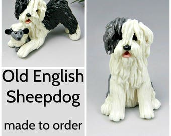 Old English Sheepdog Porcelain Christmas Ornament Figurine Made to Order