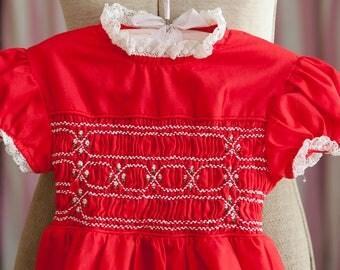 Vintage Girl's Dress -Red Lace Smocked Floral Polly Flinders