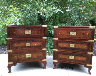 Vintage Camphor Campaign Chest Of Drawers   Vintage Campaign Side Tables    Anglo Indian Style Brass