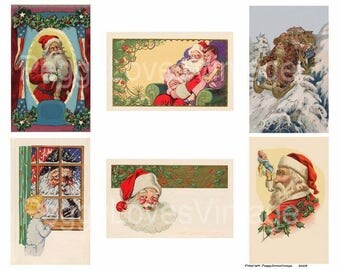 Santa without sentiments from early 1900 Christmas Greeting Cards Digital Collage - Instant Download