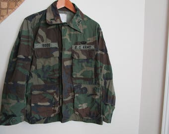 Vintage Army Camouflage Jacket, Camo Coat, US Army,  badges and rank patch, Camouflage Field Jacket, Camo Jacket, camouflage shirt