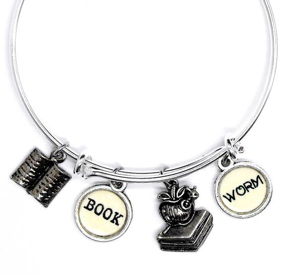 Reading Earrings: Bookworm Bangle Bracelet Reading Themed Jewelry Book Worm
