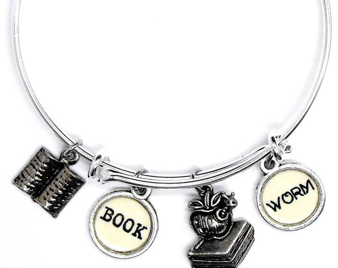 Bookworm Bangle Adjustable Size Bracelet for Book Lovers