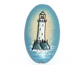 Wooden oval bead - Lighthouse, hand painted, 35x20mm