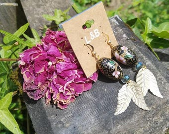 Hand painted stone beads with vintage foil leaves
