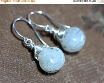 SALE Tourmalinated Quartz Earrings Rustic Jewelry Gold or Silver Wire Wrapped Black and White Earrings