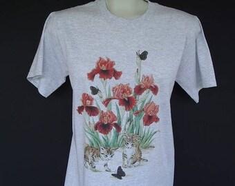 Iris Flower Kittens Butterflies Plus Size T shirt Light Gray Size Large