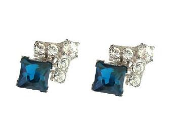Vintage Sapphire Earrings, Bogoff Earrings, Fine Designer 194s Vintage Rhinestone Jewelry, Sapphire Crystal Wedding Earrings