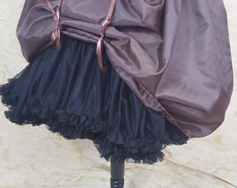 "SUMMER SALE Dark Brown Knee Length Bustle Skirt-One Size Fits Up To A 52"" Waist"