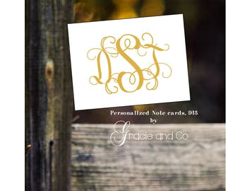 Personalized custom stationery gold  notecards monogram note cards Personalized notes   Wedding Monogram cards bridal