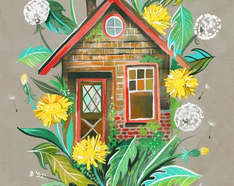 Dandelion House | Art Print | Farmhouse Wall Art | Colorful Painting | Katie Daisy Artwork | 8x10 | 11x14