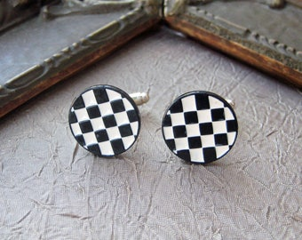 Men's Cufflink Jewerly BLACK & White Checkerborad ENAMEL industrial FUNKY