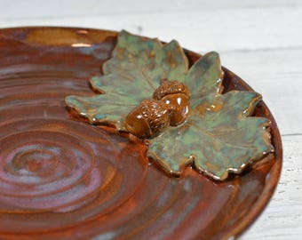Acorns and Leaves Ceramic Serving Plate
