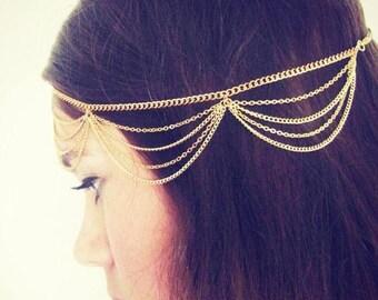 SUMMER SALE CHAIN Headpiece- chain headdress head chain headchain - Original designer gold drape head chain