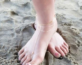 SUMMER SALE HARLOW Barefoot Sandal-draped chain anklet / foot chain / barefoot sandal / body jewelry / anklets / turquoise anklet