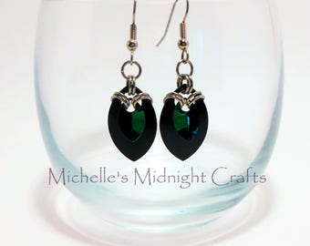 Green and Black Scale Earrings / scalemaille / chainmaille / Scales / gift for her / girlfriend gift idea / unique gift / dangly / drop /Her