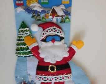 Finished Christmas Stocking -Snowboarding Santa