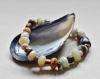 Antique Trade Bead and Amazonite Boho Bracelet Stretch