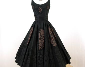 vintage 1950's dress ...exquisite MISS ELLIETTE inky black NUDE illusion soutache full circle skirt cocktail party dress