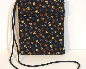 Crossbody Purse -  Paw print bag - Wallet on a string - Travel bag - Mini purse - Phone purse  - Cell phone pouch - Dog prints  - Cat prints