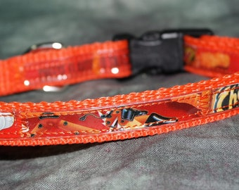Adjustable Cat or Toy Dog Collar from Recycled Cheeto's Crunchy Bags