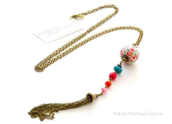 Liberty necklace,Tassel necklace,Boho jewelry,Boho necklace,Boho chic necklace,Long boho necklace,Colorful necklace,Summer necklace,Summer