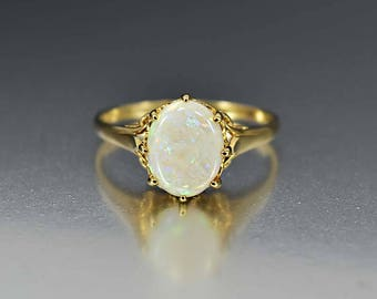 Vintage English Estate Gold Opal Ring, Opal Engagement Ring, Alternative Wedding Ring, Edwardian Styled Cocktail Birthstone Ring