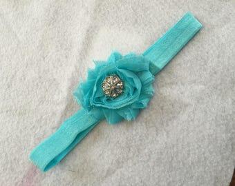 Teal Chifon Flower Baby Headband