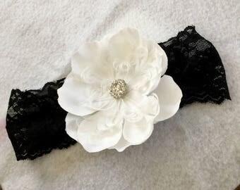 White and Black Flower Baby Headband