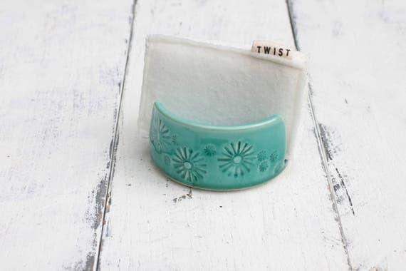 teal porcelain sponge holder