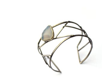 Contemporary Cuff Bracelet, Sterling Silver and Chalcedony Bracelet, Geometric Oxidized Silver Jewelry, One of a Kind Artisan Jewelry