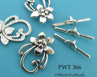 29mm Pewter Flower Toggle, Antiqued Pewter Flower Clasp (PWT 366) 3 sets Blue Echo Beads