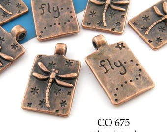 20mm Small Dragonfly Charm, Antiqued Copper Rectangle, Word Charm (CO 675) 8 pcs BlueEchoBeads