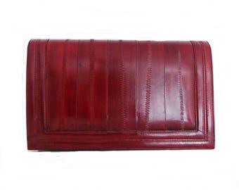 vintage 1970s burgundy red eel skin Shoulder Bag/ 70s clutch purse/ studio 54 evening bag