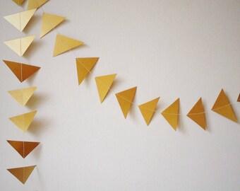 Gold Wedding Garland, Geometric Garland, Party Decoration, Wedding Decor - Triangle - Christmas - Decoration - Choose Your Length