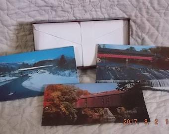 Mint Set of Vintage Covered Bridge Note Cards - 3 designs 9 cards & envelopes Historical Rural Americana