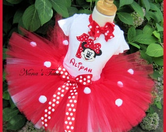 3 pc, Red Minnie with Number,Party Outfit,Theme Party,Tutu Set  in Sizes 1yr thru 4yrs