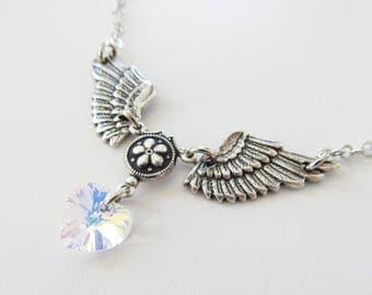 Winged Heart Necklace Swarovski Crystal Angel Wing Necklace Women's Jewelry Heart Necklace