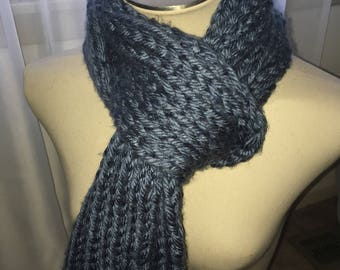 Chunky Ribbed Knitted Scarf- Grey Blue