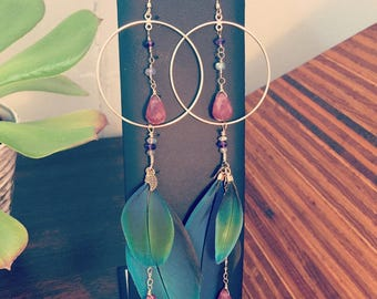 Hoop Feather Earrings Cruelty Free Macaw Feathers Gemstones 12k Gold Fill