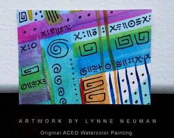 ACEO Original Hand-Painted One-of-a-Kind Abstract Mini Watercolor Painting by Lynne Neuman #4353 OOAK Miniature Small Format Art ATC