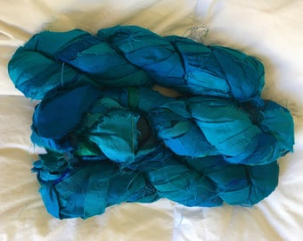 plumfish recycled silk ribbon mixed turquoise blue, saphire blue, embroidery knitting crochet craft embellishment yarn 400 grams