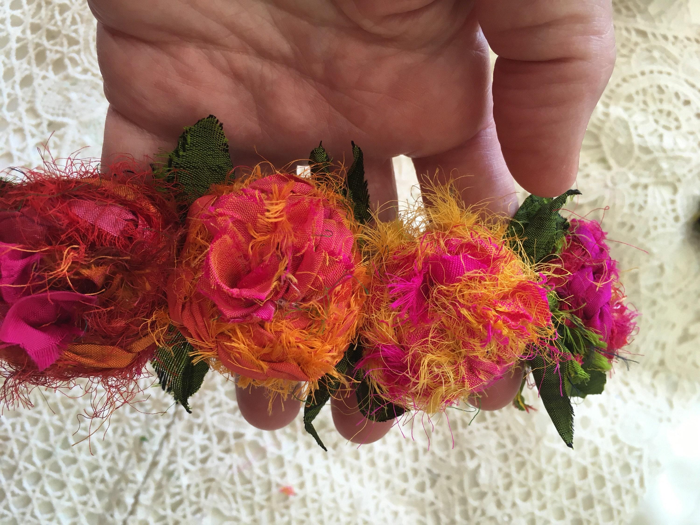Cuff Bracelet Wristlet Recycled Silk Flower Cuff Rose Bracelet