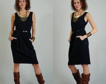 SALE 25% off sundays Blouson Sleeveless Dress Vintage 80s Little Black Belted Sleeveless Indie Urban Glam Dress (s m)