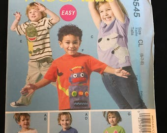 McCall's Pattern M6545 Children's Tops And Appliqués Size 6-7-8