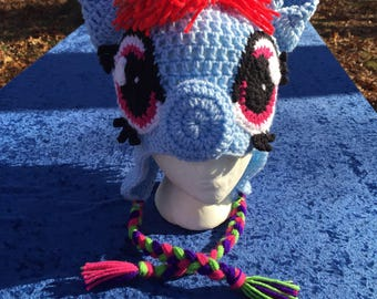 Rainbow Dash My Little Pony crocheted hat for tweens/teens/adults