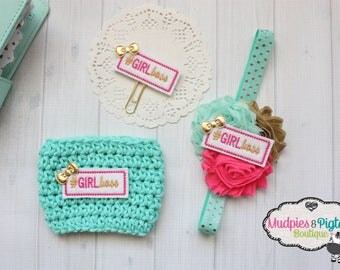 Planner band, cup cozy or paper clip { Girl Boss }  aqua, hot pink gold planner accessories bible band desk decor, stationary
