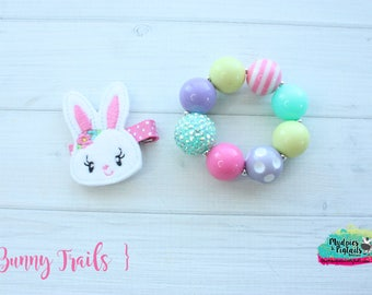 Easter Hair Clippies or bracelet  { Bunny Trails }  spring, bunny rabbits, hair bow mommy daughter Hair Clip, Barette, Holiday No Slip