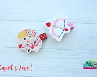Valentine's Day Hair Clippies or Planner Clip { Cupid's Love }  bow and arrow, glitter, red bow Hair Clip, Barette, Holiday Hair Bow No Slip